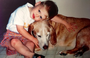 My son Jake with our beloved dog, Floyd, before Floyd's passing in early 2000.