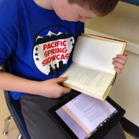 Keeton demonstrates his reading fluency using the ShowMe app. This recording will be added to his ePortfolio and can be shared with his parents.