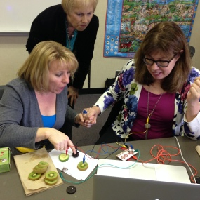 Mrs. Rempel and Sylvia Martinez play music with fruit and a MakeyMakey kit. How Cool!
