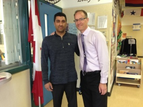 A real estate agent from the Redwoods Development next door popped in to say hello and guess what...it was Mr. Vendramin's former student, Nav Kandola, from way back in 1994! Is Mr. Vendramin REALLY that old????
