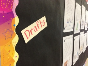 Draft copies posted by Mrs. Wiebe's students. Student are encouraged to re-work their writing to continually improve quality through the use of feedback.