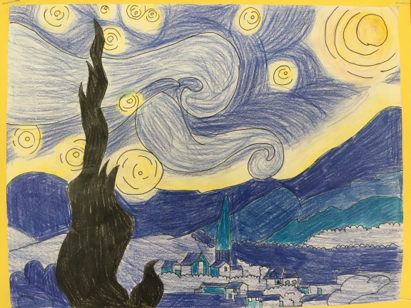 Division 5 and 6 create art inspired by Van Gogh's Starry Night