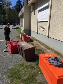 Thanks to Mr. Newbold - the garden containers are being installed!