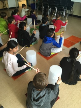 bucket drumming in music class
